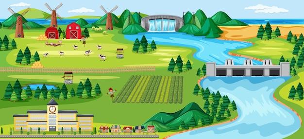 Escena de paisaje rural de agricultura