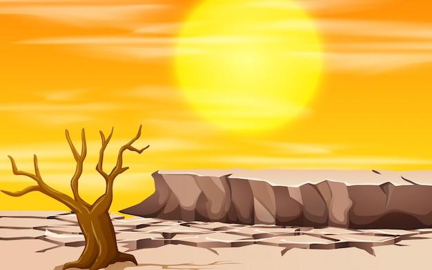Una escena de paisaje de sequía.