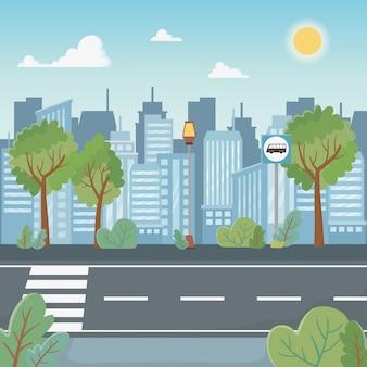 Escena del paisaje urbano con el camino de peatones