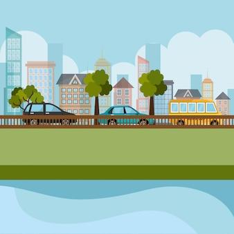 Escena del paisaje urbano y la carretera