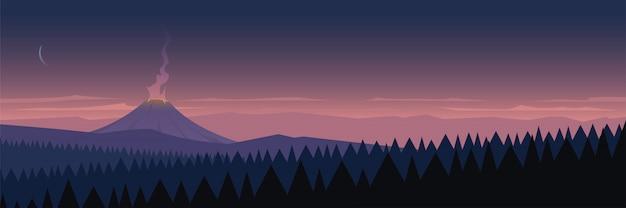 Escena del paisaje del volcán activo