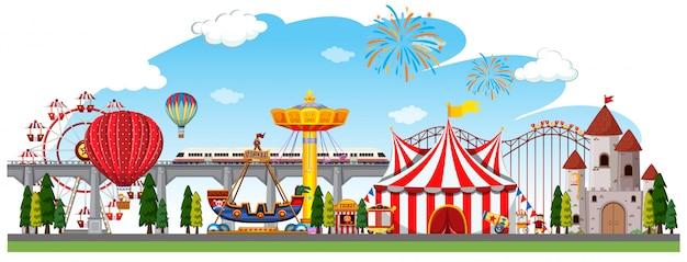 Una escena panorámica de circo.
