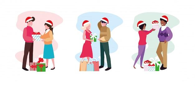 Escena de parejas con caja de regalo en blanco