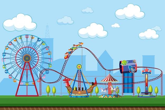 Escena del parque de atracciones con atracciones