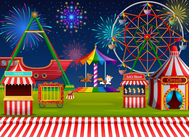 Escena del parque de atracciones con carpa de circo y fuegos artificiales