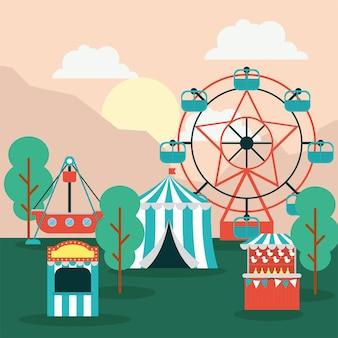 Escena del parque de atracciones con carpa de circo.