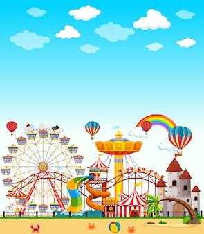 Escena del parque de atracciones durante el día con cielo azul brillante en blanco