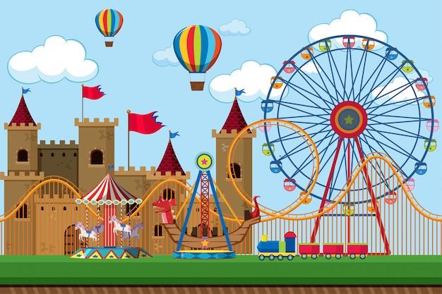 Escena del parque de atracciones con noria