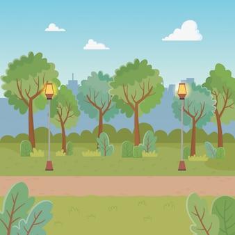 Escena del parque de la ciudad con linternas