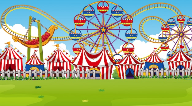 Escena del parque de diversiones o fondo con atracciones y carpas de circo.