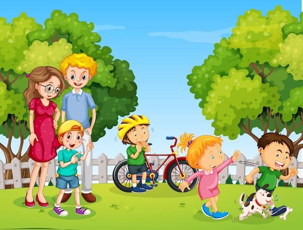 Escena del parque con familia feliz y muchos niños.