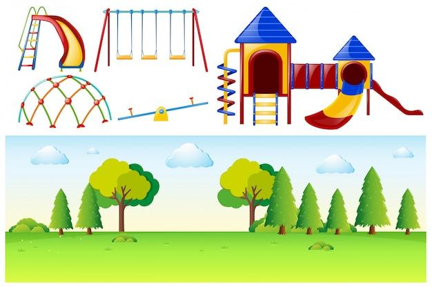 Escena del parque con muchas estaciones de juegos