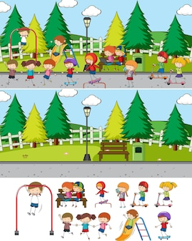 Escena del parque con muchos personajes de dibujos animados para niños