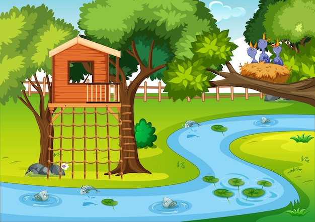 Escena del parque natural en estilo de dibujos animados