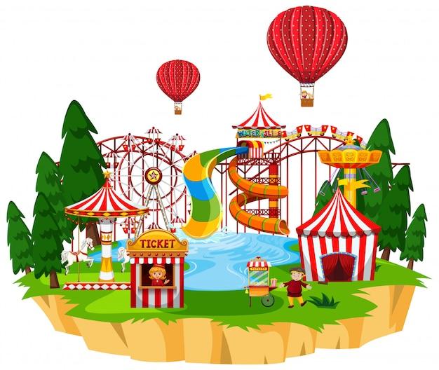 Escena del parque temático con muchas atracciones y parque acuático.