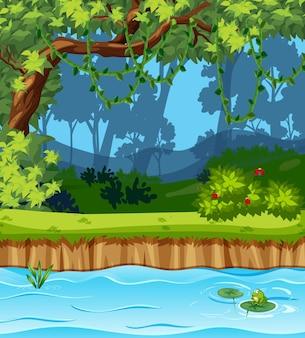 Escena del parque vacío con muchos árboles y pantano.