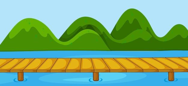 Escena del parque vacío con puente que cruza el río en estilo simple