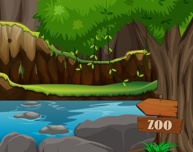 Escena del parque zoológico con estanque y árbol