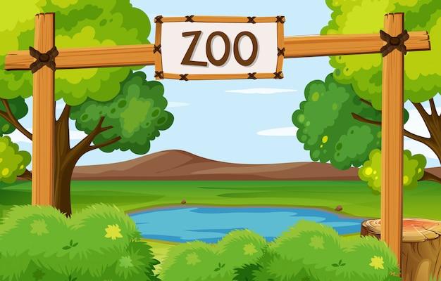 Escena del parque zoológico con estanque en el campo