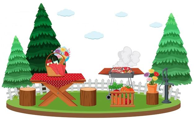 Escena con parrilla de barbacoa y comida en la mesa de picnic en el parque