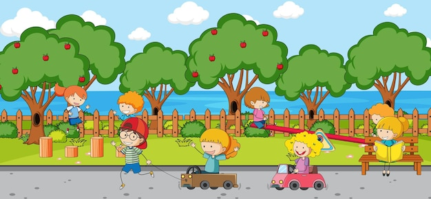 Escena del patio de recreo con muchos niños doodle personaje de dibujos animados