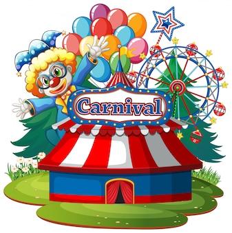 Escena con payaso de circo en el parque sobre fondo blanco.