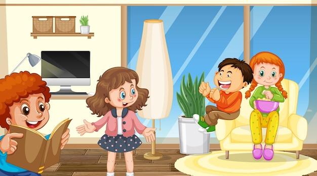 Escena con personaje de dibujos animados de niños en la habitación.
