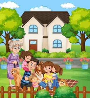 Escena con personas que se quedan en casa con la familia