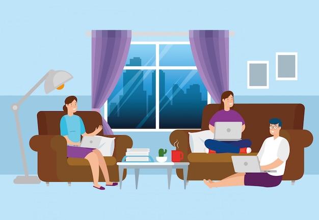 Escena de personas que trabajan en casa en la sala de estar