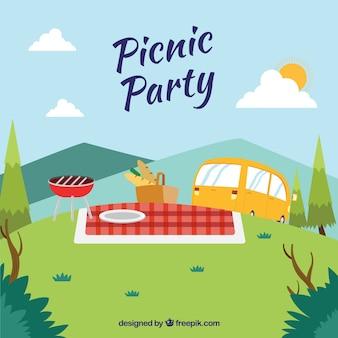 Escena de picnic con una caravana