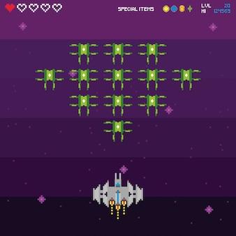 Escena pixelada retro del videojuego