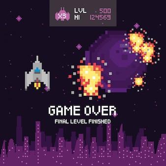 Escena pixelada del videojuego y mensaje sobre el juego terminado