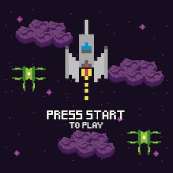 Escena pixelada de videojuegos y mensaje de estrella de prensa