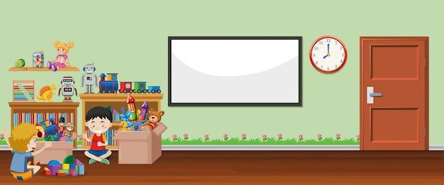 Escena con pizarra y juguetes