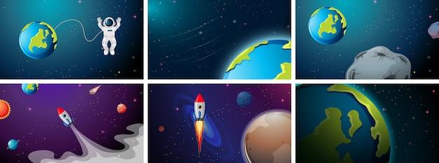 Escena de planeta, cohete y astronauta