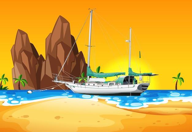 Escena de playa con barco en el mar.