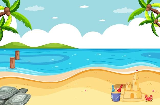 Escena de playa en blanco con castillo de arena