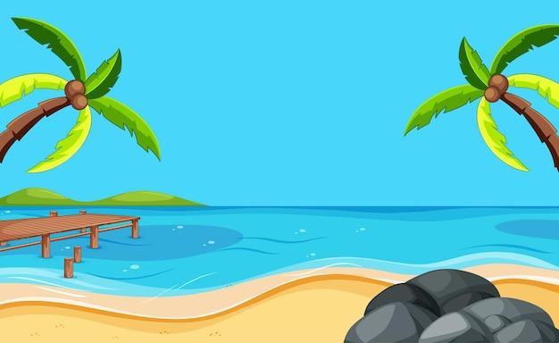 Escena de playa en blanco con dos cocoteros