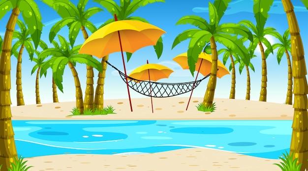 Escena de playa con hamaca