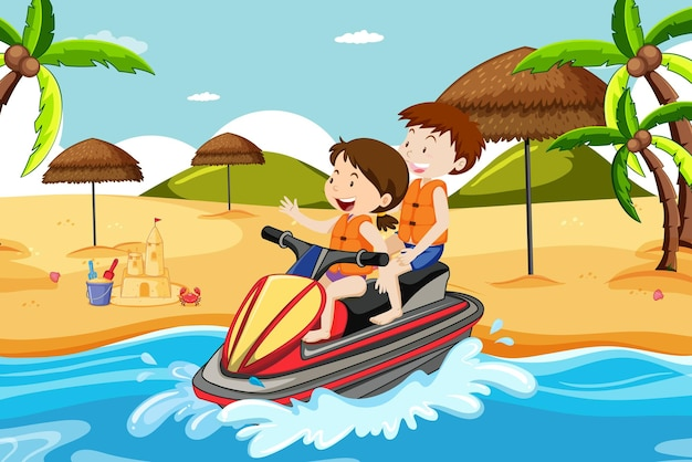 Escena de playa con niños conduciendo una moto de agua.