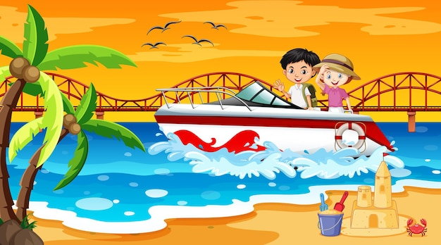 Escena de playa con niños de pie en una lancha rápida.