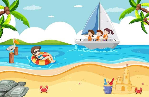 Escena de playa con niños en un velero.