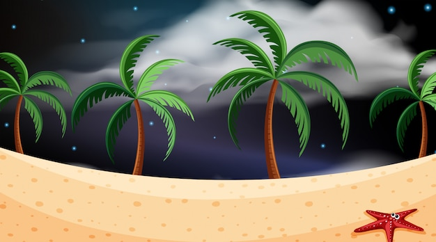 Escena de la playa en la noche