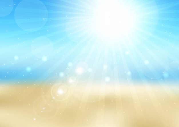 Escena de playa soleada desenfocada