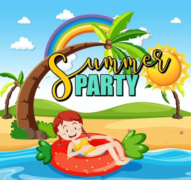 Escena de playa tropical con banner de texto de fiesta de verano