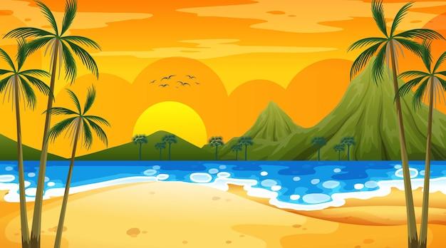 Escena de playa tropical con montaña al atardecer