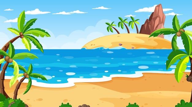 Escena de playa tropical con muchas palmeras durante el día.