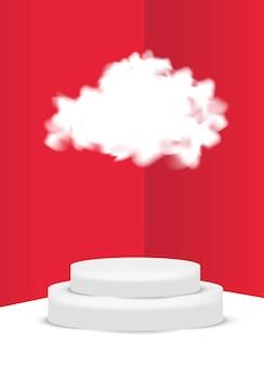 Escena de podio en la nube 3d para exhibición o colocación de productos