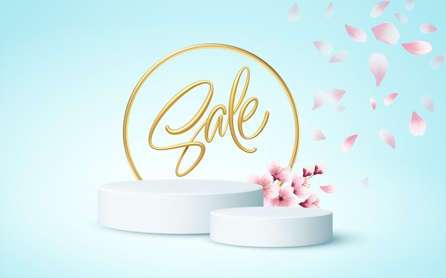 Escena del podio del producto con una rama de sakura en flor sobre un fondo azul.