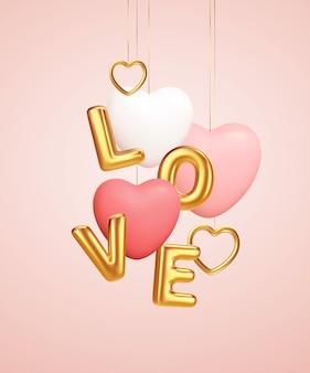 Escena de podio de producto rosa vacío con globos de forma de corazón rosa y blanco y globos de amor de palabra dorada.
